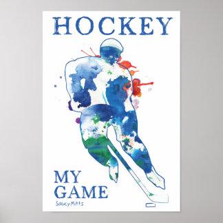 Hockey mein Spiel-Aquarell-Plakat Poster
