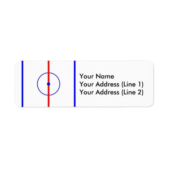 Hockey-Mitte-Eis u. blaue Linien Rücksende Aufkleber