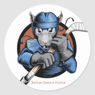 Hockey-Ratte Runder Aufkleber