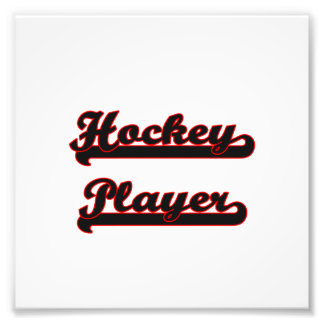Hockey-Spieler-klassischer Job-Entwurf Photographischer Druck