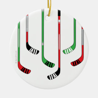Hockey-Stock-Weihnachtsverzierung Rundes Keramik Ornament