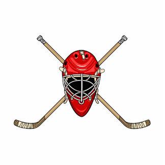 Hockey-Sturzhelm-u. Kreuz-Stöcke rot Freistehende Fotoskulptur