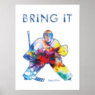 Hockey-Tormann-Aquarell Poster