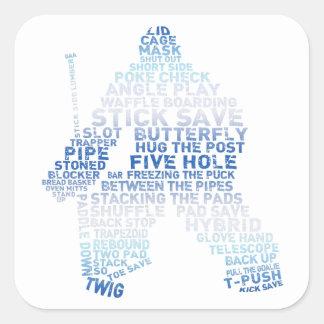 Hockey-Tormann-Text Quadrat-Aufkleber