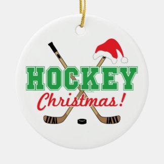 Hockey-Weihnachtshockey-Stock-Weihnachtsmannmütze Keramik Ornament