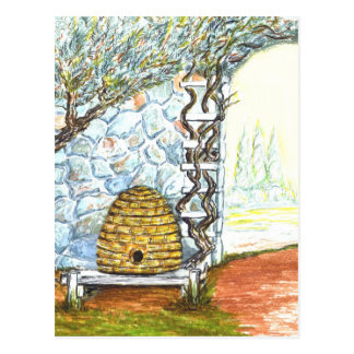 Hofbienenbienenstock Postkarte