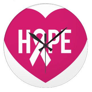 Hoffen Sie Brustkrebs-Bewusstseinsrosaband auf Große Wanduhr