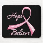 Hoffnung glauben Bürsten-Band-Brustkrebs Mauspad