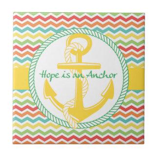 Hoffnung ist eine Anker-Seezickzack-Keramik-Fliese