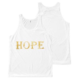 Hoffnungs-goldener Text ganz über Druckunisexweste Komplett Bedrucktes Tanktop