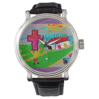 Hoffnungs-heilende Kirche alle sind willkommene Armbanduhr