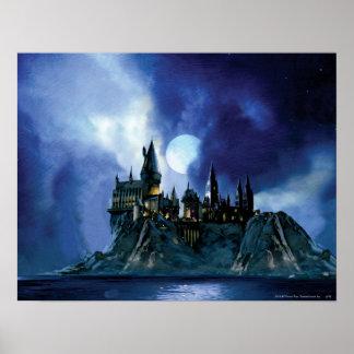 Hogwarts durch Mondschein Plakat