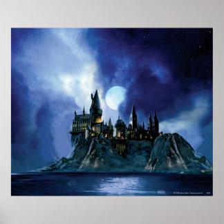 Hogwarts durch Mondschein Poster