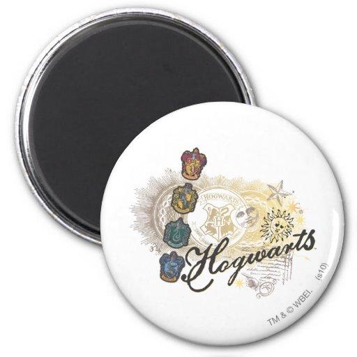 Hogwarts Logo und Professoren 2 Magnets