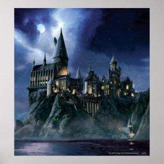Hogwarts Schloss nachts Plakatdruck