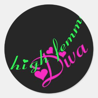 Hohe Femme Diva-Aufkleber Runder Aufkleber