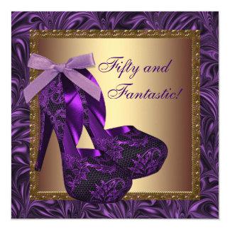 Hohe Ferse beschuht lila der Geburtstags-Party der Quadratische 13,3 Cm Einladungskarte