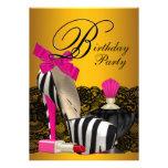 Hohe Ferse beschuht Rosa und Goldrosa Zebra-Party Einladungskarten