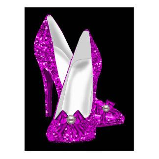 Hohe Ferse beschuht Stileto Glitter-Rosa Postkarte