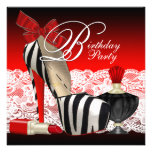Hohe Fersen-Schuh-Schwarzesrotes Zebra-Party Einladungskarten