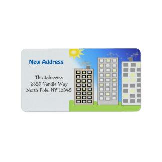 Hohe Gebäude-neue Adresse Adressaufkleber
