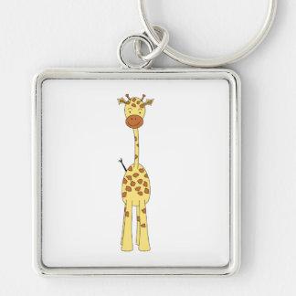 Hohe niedliche Giraffe. Cartoon-Tier Silberfarbener Quadratischer Schlüsselanhänger