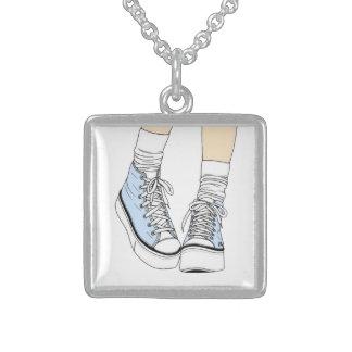 Hohe Spitzenschuhhalskette Sterling Silberkette