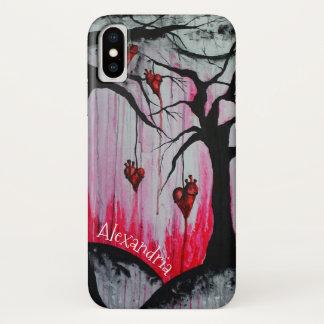 Hohe - und - trockene Herz-Bäume surreale Goth iPhone X Hülle