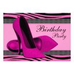 Hoher Heels u. heißes Rosazebra-Geburtstags-Party Ankündigung