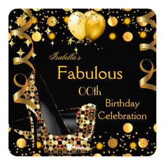 Hohes Heels-Goldgelb steigt Geburtstags-Party im Quadratische 13,3 Cm Einladungskarte