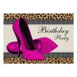 Hohes Heels-heißes Rosa-Leopard-Geburtstags-Party Personalisierte Einladungen