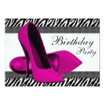 Hohes Heels-heißes Rosazebra-Geburtstags-Party Personalisierte Ankündigungen