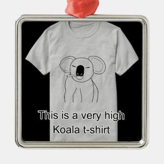 Hohes Koala-T-Shirt Quadratisches Silberfarbenes Ornament