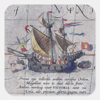 Hohes Schiff und Karte von Pazifischem Ozean Quadratischer Aufkleber