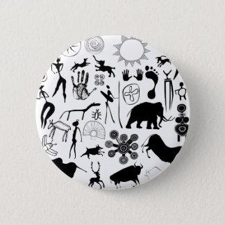 Höhlenmalereien - ursprüngliche Kunst Runder Button 5,7 Cm