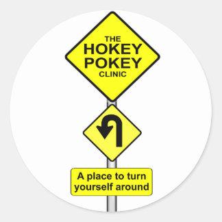HOKEY POKEY-KLINIK - DREHEN SIE SICH HERUM RUNDER AUFKLEBER