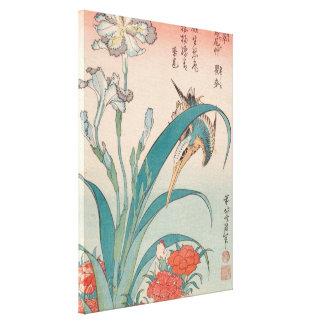 Hokusai Eisvogel-Iris und wilde Rosa GalleryHD Leinwanddruck