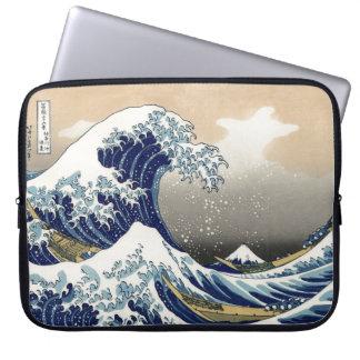 Hokusai große Welle weg von Tsunami Kanagawa Katsu Computer Schutzhülle