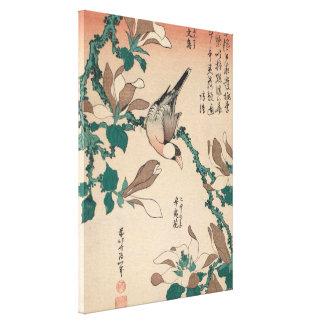 Hokusai Java Spatz auf Magnolie GalleryHD Kunst Leinwanddruck