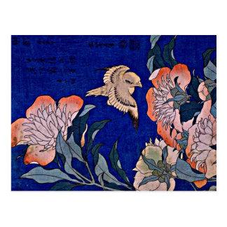 Hokusai: Kanarienvogel und Pfingstrose Postkarte
