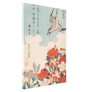 Hokusai Kuckuck und Azaleen-Vintage Kunst Leinwanddruck