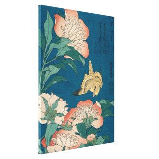 Hokusai Pfingstrosen und zitronengelbe Vintage Leinwanddruck