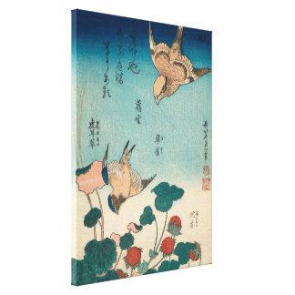 Hokusai Shrike und Drossel GalleryHD Vintage Kunst Leinwanddruck