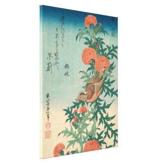 Hokusai Shrike und gesegnete Distel GalleryHD Leinwanddruck