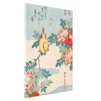 Hokusai Trällerer und Rosen Vintages Leinwanddruck