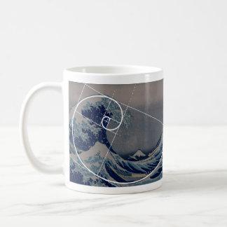 Hokusai trifft Fibonacci, goldenes Verhältnis Kaffeetasse