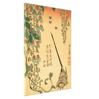 Hokusai Wisteria und Wagtail-Vintage Kunst Leinwanddruck