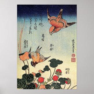 Hokusais 'Walderdbeeren und Vögel Poster