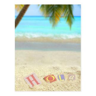 Hola, hallo auf spanisch auf einem tropischen postkarte