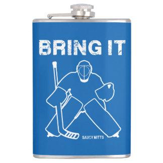 Holen Sie ihm Hockey-Tormann Flachmann